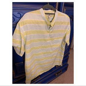 J.Crew size 6 light blue & lime short sleeve shirt